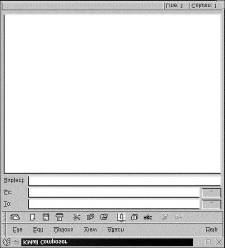 To compose a new email message, select the File, New Composer menu option. Figure 8.9 shows the Kmail Composer window.