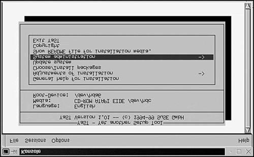 Figure 18.2. YaST running in Konsole. From the main menu, select the System Administration option.