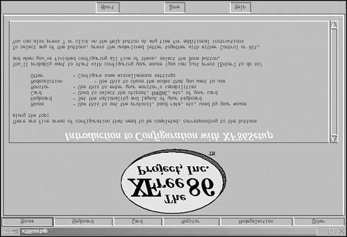 Figure 4.1. The XF86Setup initial window. Figure 4.2. The XF86Setup Mouse setup window.