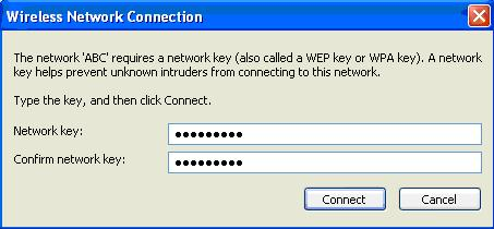 If the network is security-enabled, you will be prompted to enter the key as shown below.