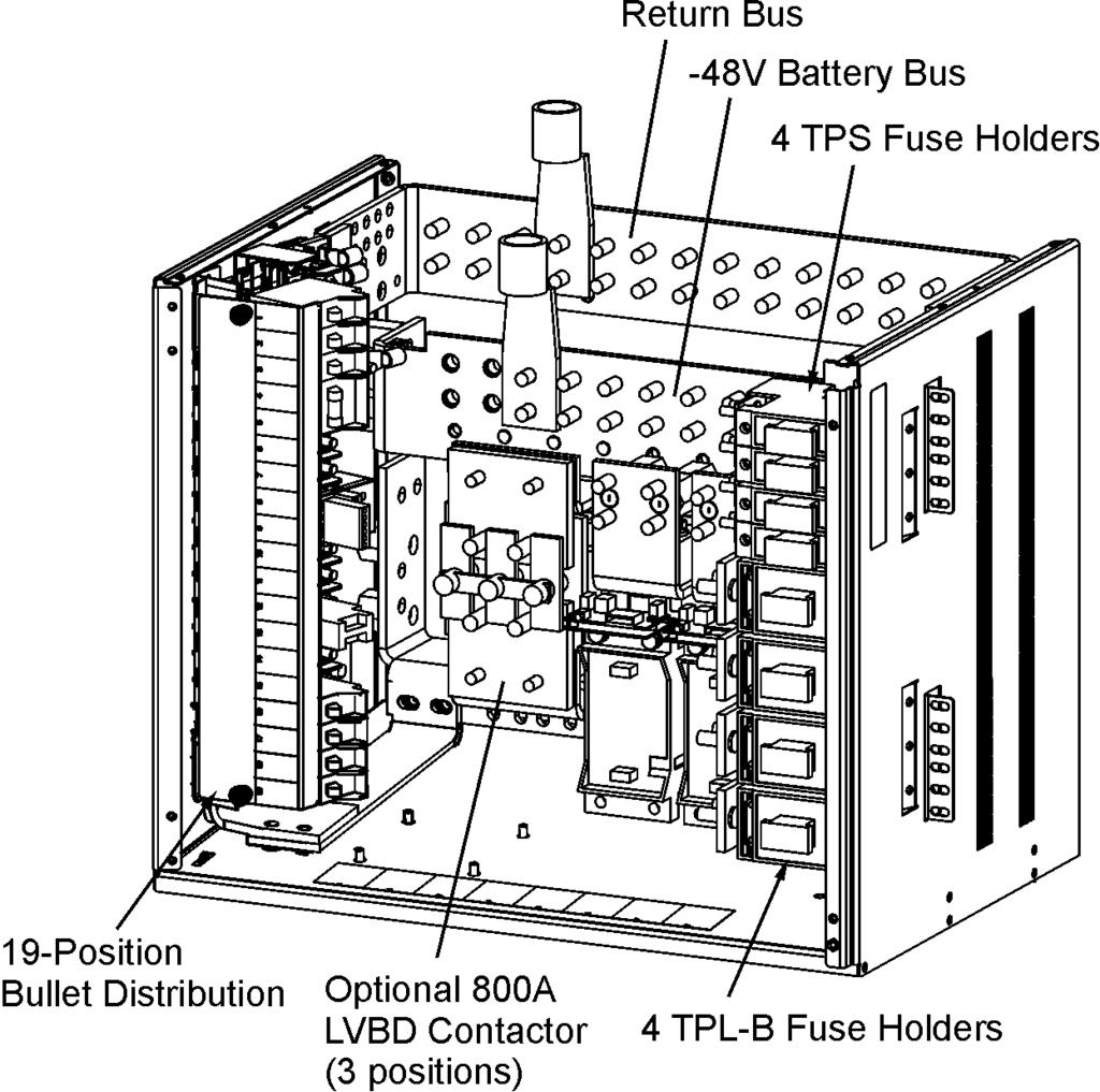 Cps6000 M2 Frame Mounted Battery Plant Model H Pdf Safety Disconnect Switch Wiring Diagram Dc Distribution And Termination Group 660 Option Two 19 Position Bullet Panels Each Rated