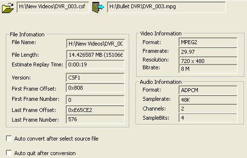 file format for PC. You do not need to convert files recorded with the mpeg-4 format. Click the icon to browse and select the mpeg-2 file you wish to convert.