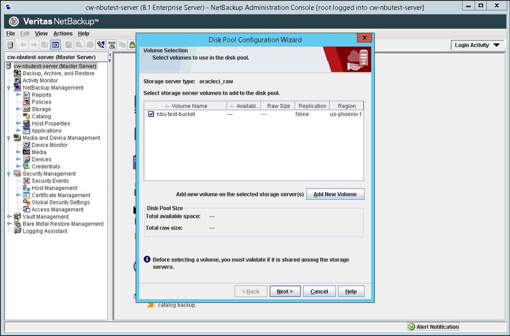 NetBackup Disk Pool Configuration Wizard 10.