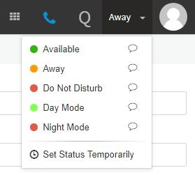 Available, Away, Do Not Disturb, Day Mode, and Night Mode (the following section shows how to change your extension status).