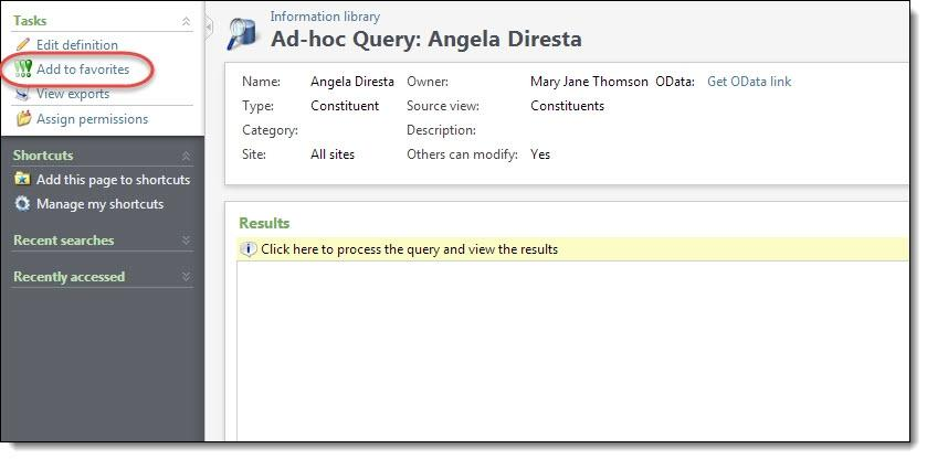NEW FEA TURES FOR BL A CKBA UD DIRECT MA RKETING 4.0 31 Make Queries or KPIs Favorites from the Query or KPI Record You can now mark a query or KPI as a favorite from the query or KPI record.