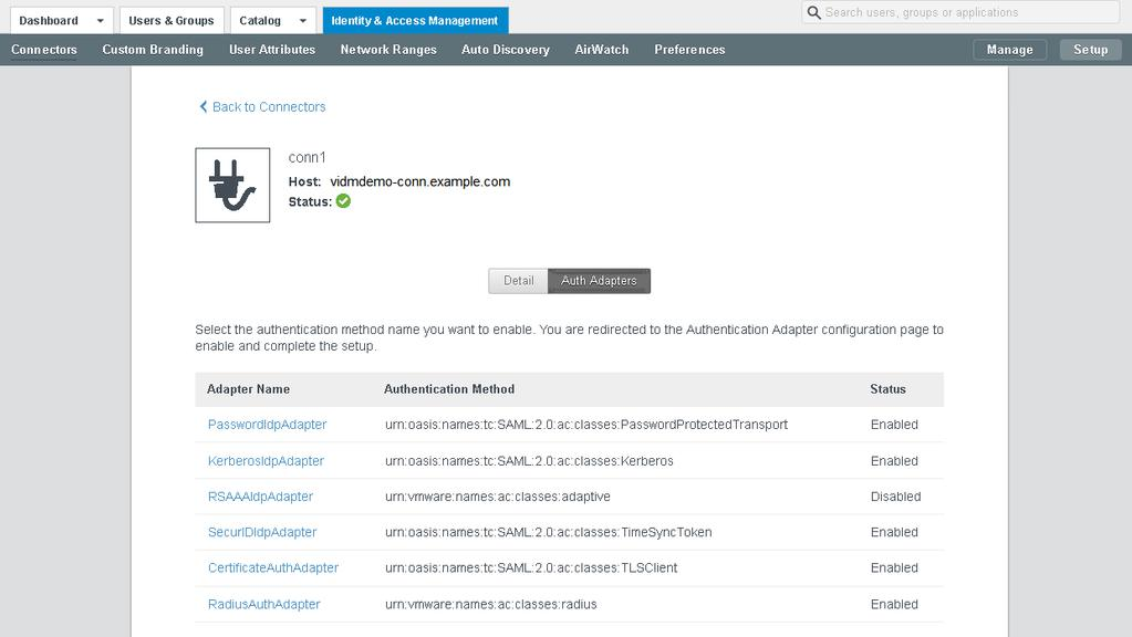 Chapter 3 Deploying the VMware Identity Manager Connector Procedure 1 In the VMware Identity Manager administration console, click the Identity & Access Management tab.