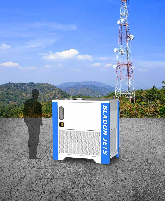 MICROTURBINE DRIVEN DISTRIBUTED ENERGY TELECOM TOWER POWER SOLUTIONS 12KW MICROTURBINE GENSET 8,000 HOUR SERVICE INTERVALS MEANS FEWER SITE VISITS The Bladon 12Kw microturbine genset (MTG) is a cost