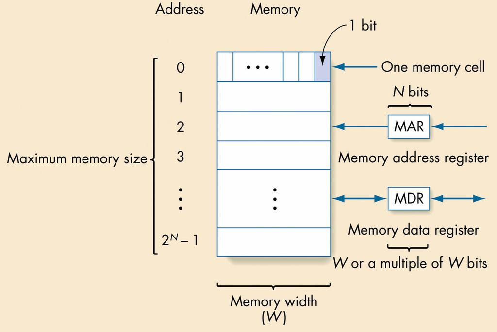 Memory Organization Conceptually a 1-D array with an Address scheme Address is index to array Memory width