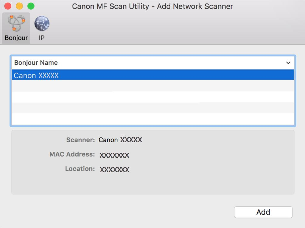 the scanner name click [Add].