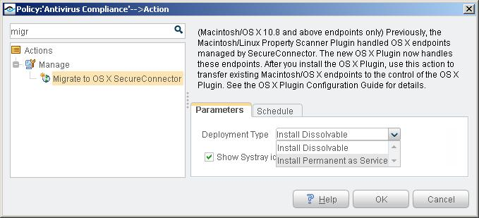 Migrate to OS X SecureConnector Action The OS X Plugin must be installed before you use this action.