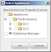 2. Select Plugins. In the Plugins pane, select the Macintosh/Linux Property Scanner Plugin. Select Configure. The Select Appliances dialog appears. 3.
