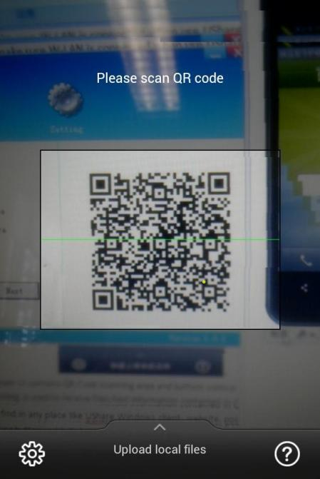 7.1 General Information The UShare main UI contains QR Code scanning area and bottom control bar. QR Code scanning is used to receive files/text information contained in QR Code.