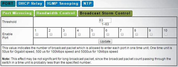 Advanced -> Port -> Broadcast Storm Control -> Threshold specifies the allowed counts of Broadcast