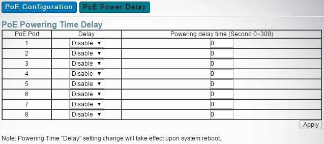 Power Over Ethernet Enable Power Over Ethernet -> POE Power Delay -> PoE Powering Timer Delay -> Delay and set Powering delay time will postpone the