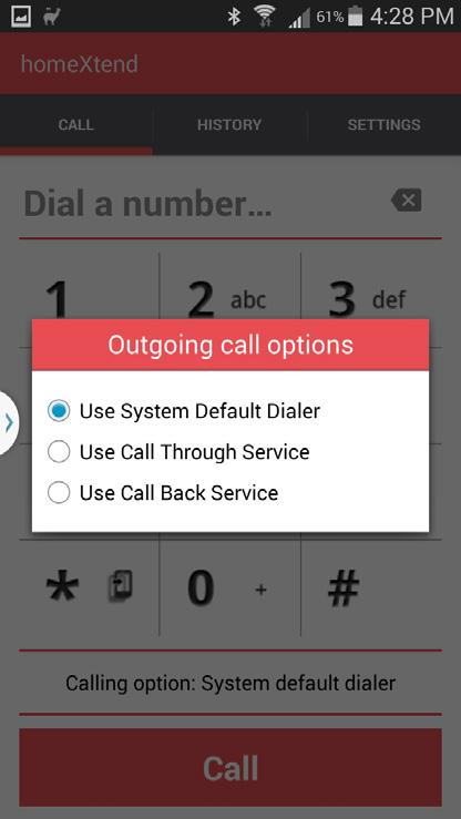 Call Screen The call screen is your main dialing screen. From here you can enter a destination phone number and press the Call button.