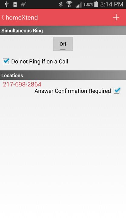 SIMULTANEOUS RING Touch Simultaneous Ring to configure and enable/disable this feature.