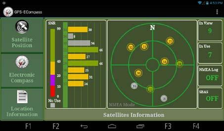 Satellite Position The Satellite Position page shows the positions of the overhead satellites and their signal strength.