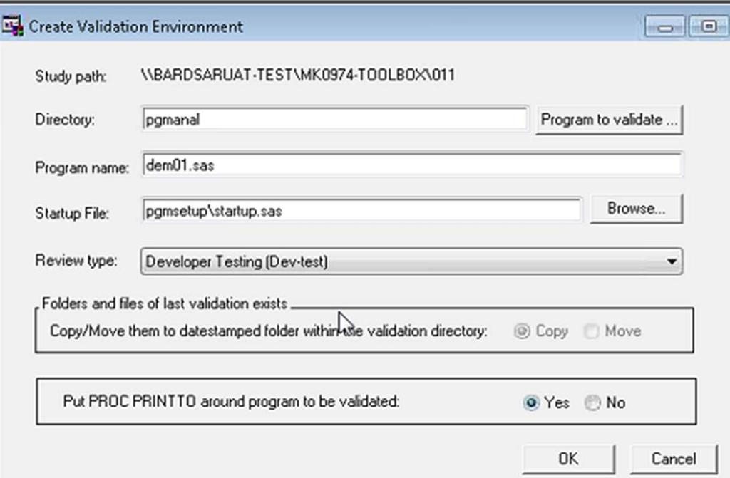 CREATE VALIDATION ENVIRONMENT When a programmer is ready to complete official validation of their code, they use the Create Validation function.