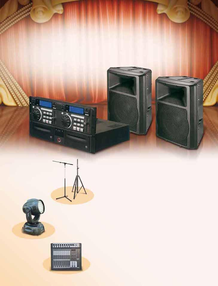 Speaker and microphone stands LED stage light with moveable head Public amplifer and plastic cabinet speakers Drums for Nintendo s Wii Guitar Hero Dongjiang Haoyuan, Longjing Rd.