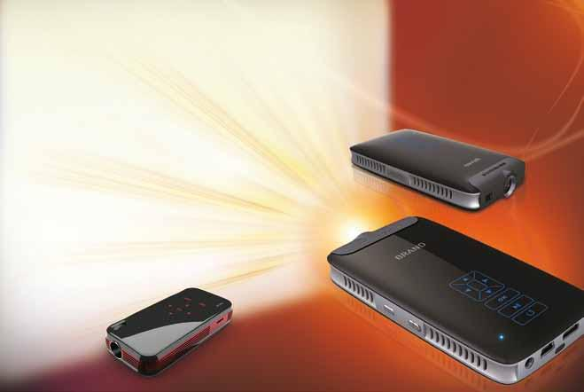 Our featured pocket projector, measuring only 110 x 59 x 19 millimeters, boasts the latest RGB LCoS technology by 3M.