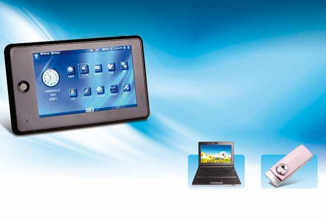 "Slim e-book readers with R&D support from Samsung Mobile Internet device 5"" HD touch panel OS: Microsoft Windows CE 6."