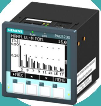 7KM PAC5200 measuring devices Technical overview (1/2) Measurements Measurement IEC 61000-4-30 Class S True RMS for voltage and current up to the 1st harmonic component/2048 sample values per 10