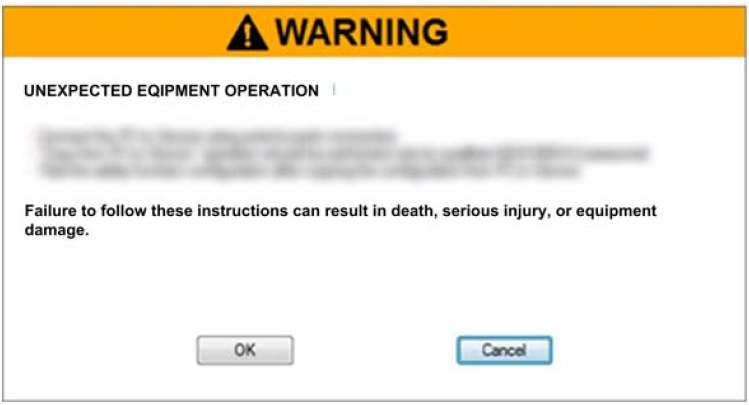 Safety Functions Commissioning Copy from PC to device Warning!