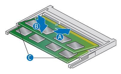 Install an additional memory module a. Align the space at the bottom edge of the memory module with the key on the socket. b. Insert the bottom edge of the module at a 45 degree angle into the socket (A).