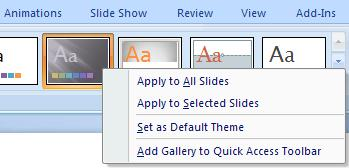 Additional hints: To change an existing theme, go back and select another theme To apply a