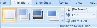 Slide Transitions Select Animations Click on lower down arrow to view available slide transitions