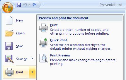 Popular options include: Printer Name Number of copies change the number of copies to print using the up/down arrows Print Range All slides (default)