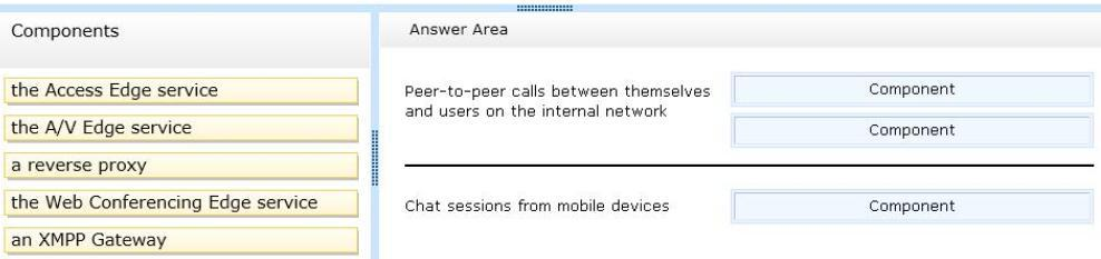 Answer: D http://technet.microsoft.com/en-us/library/gg398287.aspx Question: 5 DRAG DROP You have a Lync Server 2013 infrastructure.