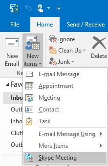 Scheduling a Skype Meeting from Outlook You can use Outlook or Outlook Web App to schedule a Skype meeting--the same