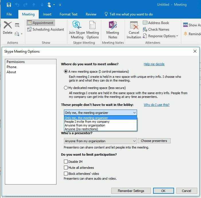 1 2 Skype Meeting Options in Outlook 3 If you have a meeting with people outside your company, or you re scheduling a large event,