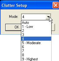 Clutter Setup The Clutter Level setting allows the user to dynamically adjust the color palette to eliminate low level noise in areas where the water is contaminated.