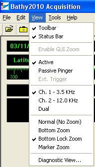 View Menu Toolbar Status Bar Enable GUI Zoom Passive Pinger CH. 1-1 Selection CH.