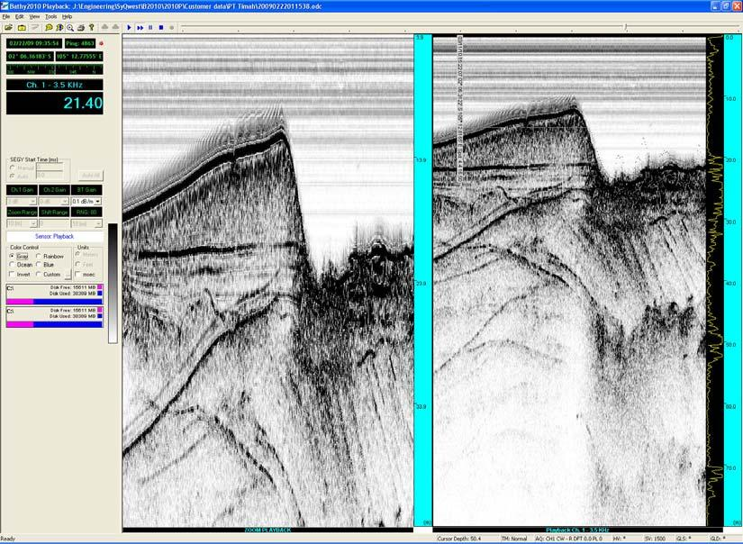 Bottom Zoom Mode When selected, this mode will split the viewing area in half. The T left side will be used to show zoom information, and the right side for normal bottom tom data.