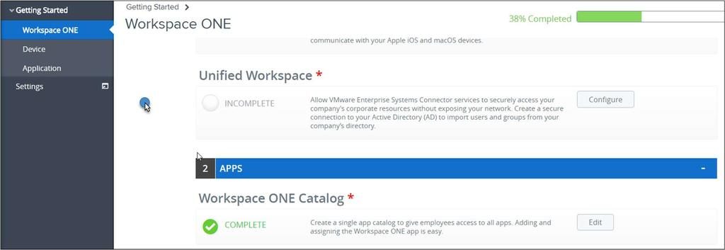 Introduction The Workspace ONE Getting Started Wizard in the AirWatch Console guides you through configuration of Active Directory synchronization and authentication with VMware Identity Manager.