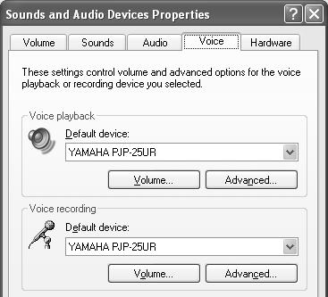 """Default device"" in ""Sound playback"": YAMAHA PJP-25UR ""Default device"" in ""Sound recording"": YAMAHA PJP-25UR Change y Normally,"