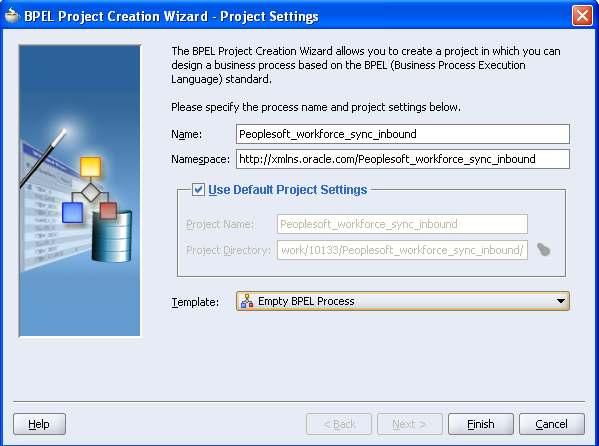 In the BPEL Project Creation Wizard, enter the following details and then click the Finish button.