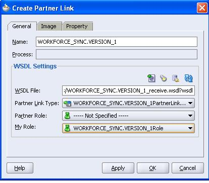 Select WORKFORCE_SYNC.VERSION_1_receive.wsdl and click OK. The Create Partner Link dialog box is displayed.