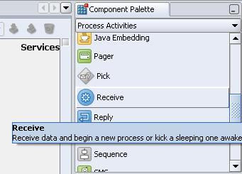From the Process Activities pane on the right, drag a Receive activity to