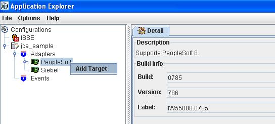 Expand the Adapters node and select the PeopleSoft adapter to create a new target for the PeopleSoft adapter.