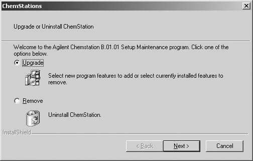 Installing the Agilent A/D ChemStation 4 5 After a few seconds the setup program will display the following screen: To update or add additional instrument modules, select Upgrade, and click Next.