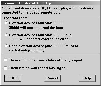Configuring the 35900E Interface 5 11 Define the External Start/Stop and Ready Status options. To access the dialog box, click Change.
