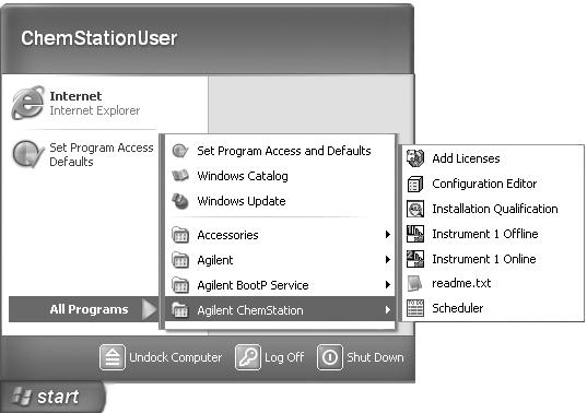 1 From the Start menu in the Task Bar: For Windows 2000 Professional users, select Start>Programs>Agilent ChemStation> and select