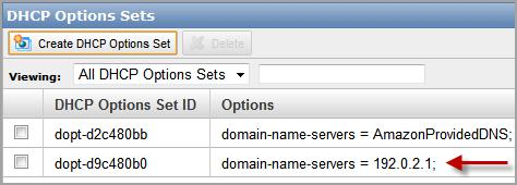 Implementing the Scenario 5. Click Yes, Create. The new set of DHCP options is created. Note Your VPC automatically has a set of DHCP options with domain-name-servers=amazonprovideddns.