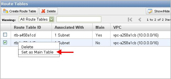 Working with Route Tables The following procedure describes how to change which table is the main route table in your VPC. To replace the main route table 1.