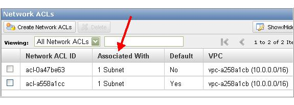 Working with Network ACLs Your VPC's ACLs are listed. The list includes an Associated With column that indicates the number of associated subnets. To determine which subnets are associated 1.