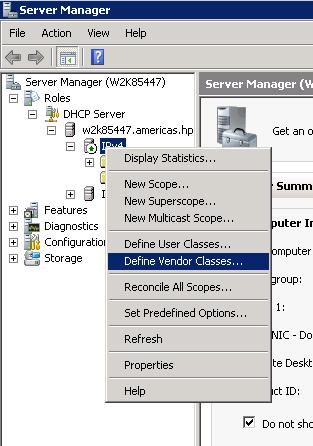 4. The DHCP Vendor Classes window is displayed. Click Add... 5.